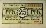 25 Pfennig (Anhaltische Finanzdirektion) – obverse