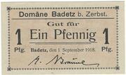 1 Pfennig (Badetz) – obverse