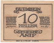 10 Heller (Anif) – obverse