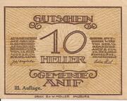 10 Heller (Anif) - 3. Auflage – obverse