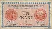 1 franc - Chambre de Commerce d'Annecy [74] – obverse