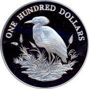 100 Dollars - Elizabeth II (Cattle Egret) -  reverse