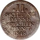 2 Skilling - Frederik VII – reverse