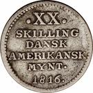 20 Skilling - Frederik VI – reverse