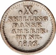 10 Skilling - Frederik VI – reverse