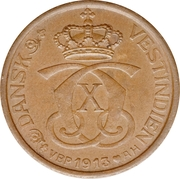 1 Cent / 5 Bit - Christian X -  obverse