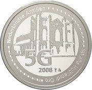 5 Gulden - Beatrix (50 Years Brishopric Willemstad) – reverse