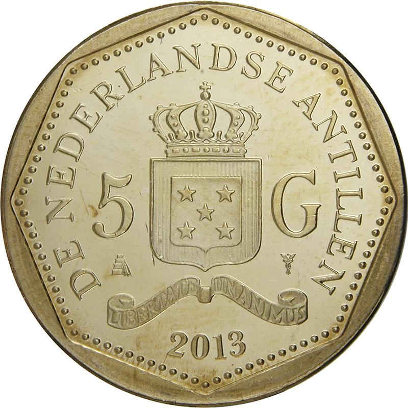 NETHERLANDS ANTILLES 1 GULDEN 2014 COIN UNC
