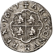 2 Reales - Felipe IV (no circle) – reverse