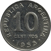 10 Centavos (smaller head, smooth edge) -  obverse