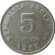 5 Centavos (reeded edge) – reverse