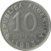 10 Centavos (larger head, smooth edge) – obverse
