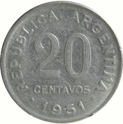 20 Centavos (reeded edge) – reverse