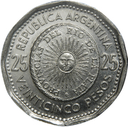 25 Pesos (First Issue of National Coinage in 1813) – reverse