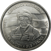 2 Pesos (25th Anniversary of the South Atlantic War) – obverse