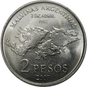 2 Pesos (25th Anniversary of the South Atlantic War) – reverse