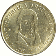50 Centavos (150th anniversary of the death of General San Martin) -  obverse