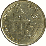 50 Centavos (150th anniversary of the death of General San Martin) -  reverse