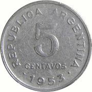 5 Centavos (larger head; smooth edge) – reverse