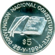 5 Pesos (National Constitution Convention) -  reverse