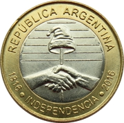 2 Pesos (Bicentennial of the Declaration of Independence Argentina) – obverse