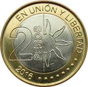 2 Pesos (Bicentennial of the Declaration of Independence Argentina) -  reverse