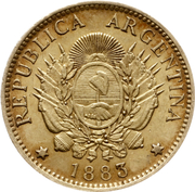 5 Pesos / 1 Argentino – obverse
