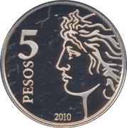5 Pesos (75th Anniversary of B.C.R.A.) -  reverse
