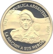 5 Pesos (25th Anniversary of the South Atlantic War) – obverse