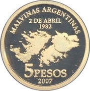 5 Pesos (25th Anniversary of the South Atlantic War) – reverse