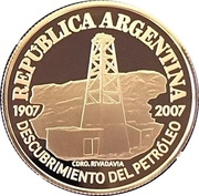 5 Pesos (Centenary of the Discovery of Oil in Argentina) – obverse
