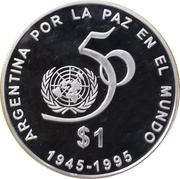 1 Peso (50th Anniversary of the UN) – reverse