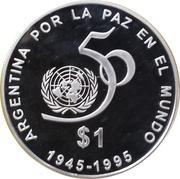 1 Peso (50th Anniversary of the UN) -  reverse
