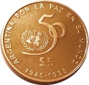 5 Pesos (50th Anniversary of the UN) – reverse