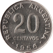 20 Centavos (smaller head, smooth edge) – obverse