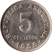 5 Centavos (smaller head; smooth edge) -  obverse