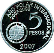 5 Pesos (International Polar Year) – reverse