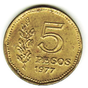 5 Pesos (Admiral G. Brown) -  reverse