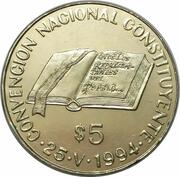 5 Pesos (National Constitution Convention) -  reverse