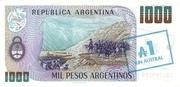 1 Austral (Overprint on 1,000 Pesos Argentinos) – reverse
