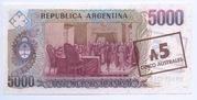 5 Australes (Overprint on 5,000 Pesos Argentinos) – reverse