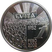 1 Peso (Eva Duarte de Peron) -  reverse