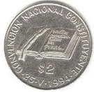 2 Pesos (National Constitution Convention - Silver Issue) – reverse