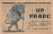 1 Franc - Chambres de Commerce d' Arras – obverse