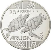 25 Florin - Beatrix (Sea turtles) -  reverse