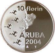 10 Florin - Beatrix (Cuban Tree Frog) -  reverse