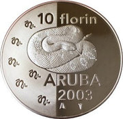 10 Florin - Beatrix (Rattlesnake) -  reverse