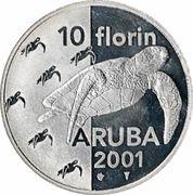 10 Florin - Beatrix (Green Sea Turtles) -  reverse