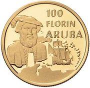 100 Florin - Beatrix (Discovery of Aruba) -  obverse