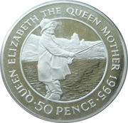 50 Pence - Elizabeth II (Queen Mother; Piedfort) – reverse